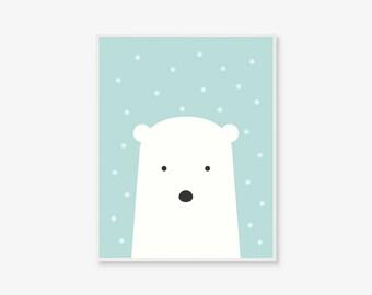 Baby Polar Bear Print | Animal Kids Poster