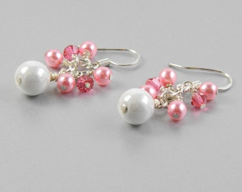Pink and White Cluster Dangle Earrings with Surgical Steel Ear Wires