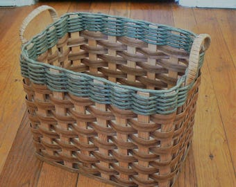Vintage Rectangular Basket, Splint and Wood Basket / Tote, Woven Storage Basket