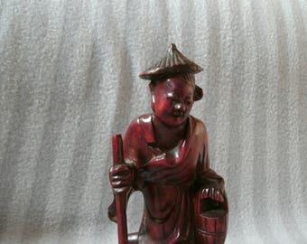 JAPANESE HARDWOOD WOOD sculpture carved man figure oriental vintage antique