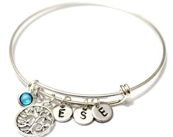 Silver of Life Bracelet, Family Tree Bracelet, Silver Bangle Bracelet, Tree of Life Bangle, Initial Bangle Bracelet, Birthstone Bracelet