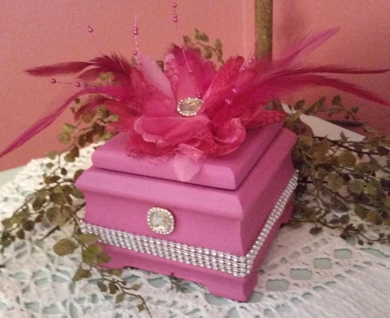 UPCYCLED Shabby Chic Parisian Pink Wood MUSIC BOX
