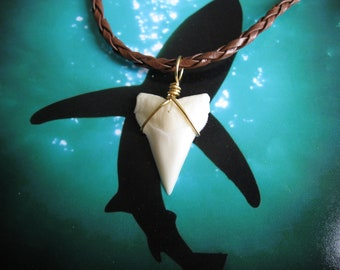 Shark Tooth Necklace, Modern Day White Shark tooth, Braided leather, Brass wire wrapped pendant