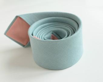 Dusty Shale Linen Necktie-  Green Shades Linen Neckties-  Pale Teal Necktie - Dusty Green Groom's Tie- Wedding Ties- Coral Wedding