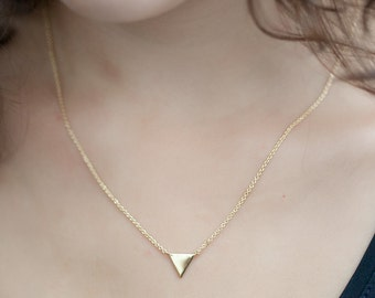 Minimalist Small Triangle Necklace - In silver or Gold Fill - Tiny Triangle Necklace - One of a kind