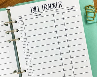 A5 Bill Tracker printed planner insert - monthly tracker - bills - bill planner refills - expense tracking - financial planning
