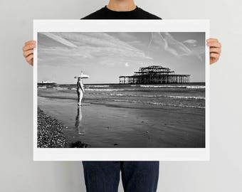 Brighton, West Pier, Seaside, England, Brighton Beach, print, art, photography, home decor, Brighton Pier, UK, black and white, fine art