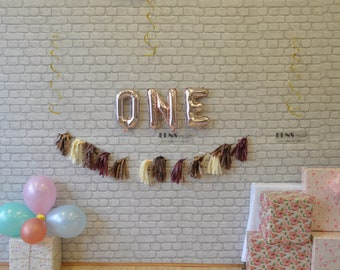 """ONE 16""""Rose Gold Letter Balloons Rose Gold Party Decorations First Birthday Wild One Party Smash Cake Props"""