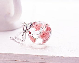 Real flower necklace Dried flower necklace Terrarium necklace Botanical jewelry Birthday gift for her