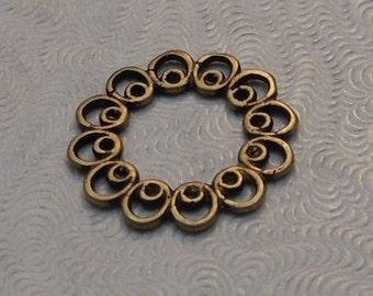 LuxeOrnaments Round Oxidized Brass Filigree European Cast 2 sided Connector 16mm (1pc) B-15569-B