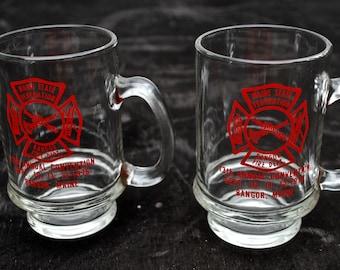 Pair of Bangor Maine Souvenir Fire Department Mugs
