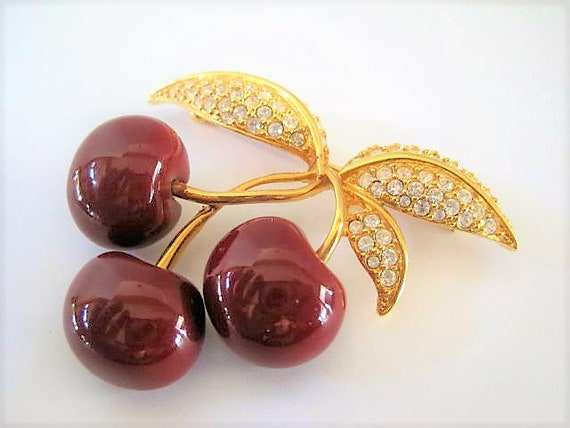 Joan Rivers Brooch, Red Cherry, Vintage Rhinestones, Retired Signed Pin