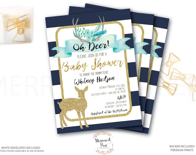 Oh Deer Baby Shower Invitation // It's a Boy // Fawn Invitation // Boy // Blue // Navy // Woodland // Gold Glitter // OXFORD COLLECTION