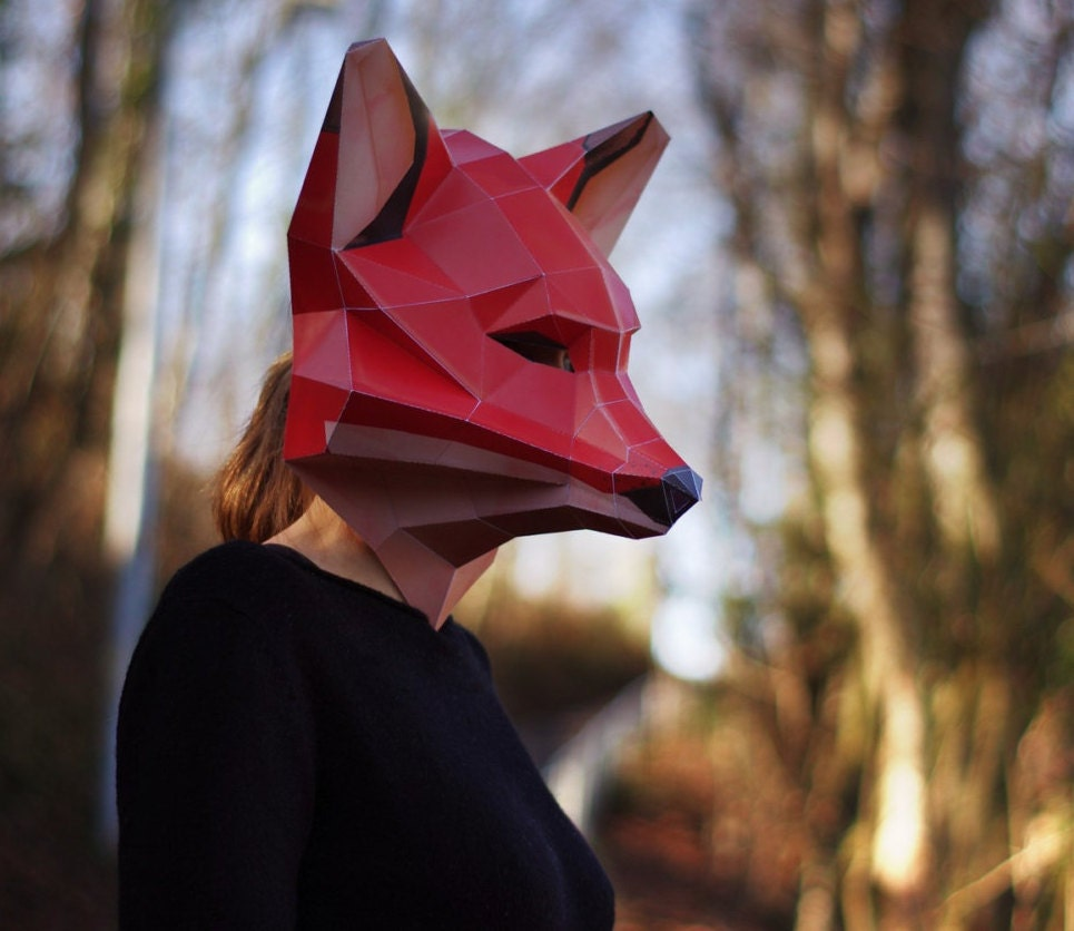 Fox mask diy papercraft digital download zoom jeuxipadfo Image collections
