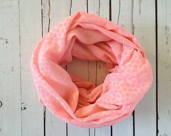 Adult infinity scarf - Pink dots