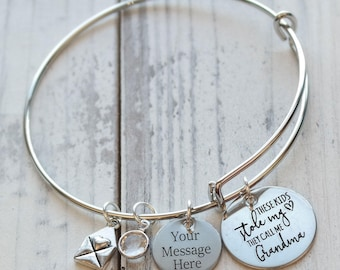 These Kids Stole My Heart They Call Me Grandma Wire Adjustable Bangle Bracelet