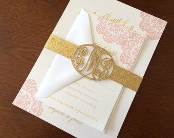 Vintage Blush and Gold Lace Wedding Invitation with Monogram Belly Band Laser Cut