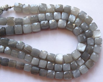 Grey Moonstone Faceted Cubes, Moonstone Faceted Cubes