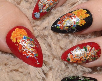 Black And Red Floral Fake Nails, Long Almond False Nails, Hand Painted Press On Nails, Long Nails, Nail Designs, 20 Full Cover Nails