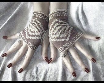 Aztec Rising Fingerless Gloves | Rosy Tan & Cream Aztec | Bohemian Chic Steampunk Belly Dance Earth Mother Hippy Burning Man Bellydance Goth