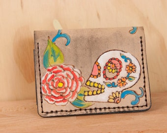 Mighty Fold Wallet -  Sugar Skull No. 1 - Leather in white, red, green, yellow, pink, orange and antique black