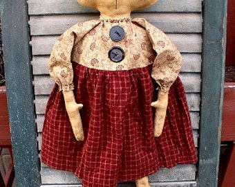 Cora Cat EPATTERN-primitive country cloth doll craft digital download sewing pattern - PDF-1.99