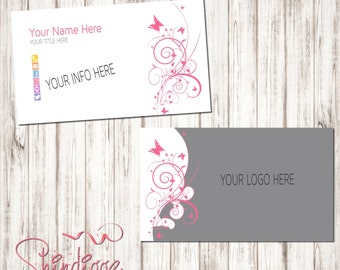 Custom Business Card, Business Card Design, Independent Consultant, Gray and pink, butterfly, inspired by LLR