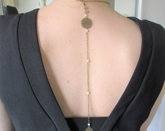 Necklace back/jewel gadsby, back, retro, vintage, 1930s flapper back jewel, metal chain bronzes, ivory pearls.