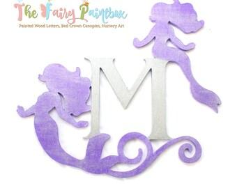 Glitter Purple Mermaid Monogram Wall Sign - Swirly Mermaid Nursery Art - Mermaid Wall Letter - Mermaid Wedding Centerpiece - Monogram Sign