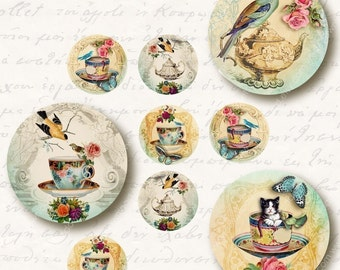 Tea Party 1 inch Circles, Digital Collage Sheet, Download and Print Jpeg Clip Art Images