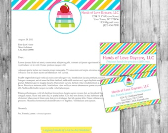 Diy do it yourself cupcake stripes bakery business card diy do it yourself childcare or daycare business card and letterhead stationery solutioingenieria Image collections
