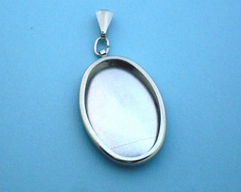 Silver Oval Pendant Setting Frame Mounting, Embroidery Pendant Frame, Pendant Mounting, Embroidery Frame, Oval Setting, 143ST