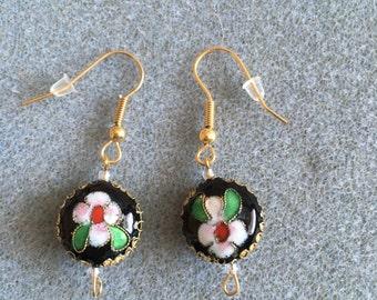 black disc cloisonné earrings