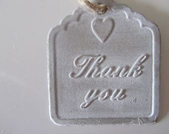 """metal with inscription """"Thank you"""" tag with cord"""