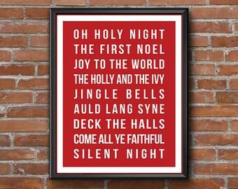 Red White Christmas Print Wall Art, Subway Art Holiday Printable, Christmas Carol, Holy Night, Digital Artwork, Christmas Poster, Home Decor