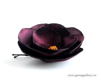 Aubergine Satin Hair Pin, Eggplant Satin Wedding Flower, Eggplant Hair accessories