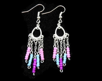 Earrings dangle jewelry assemblage on chandelier channel silver plated seed beads