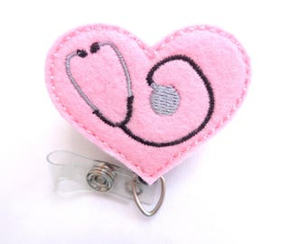 Badge Holder Retractable - Heart with Stethoscope - light pink felt - nurse badge reel doctor EMT RN medical badge reel