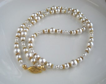Swarovski White Pearl Necklace White Pearl Wedding Necklace Pearl Bridal Necklace  (25.5 inches)