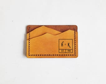 Monogram Mountain Wallet, Personalised leather card holder, hand stitched wallet, camping gift, mountain man wallet boyfriend card holder