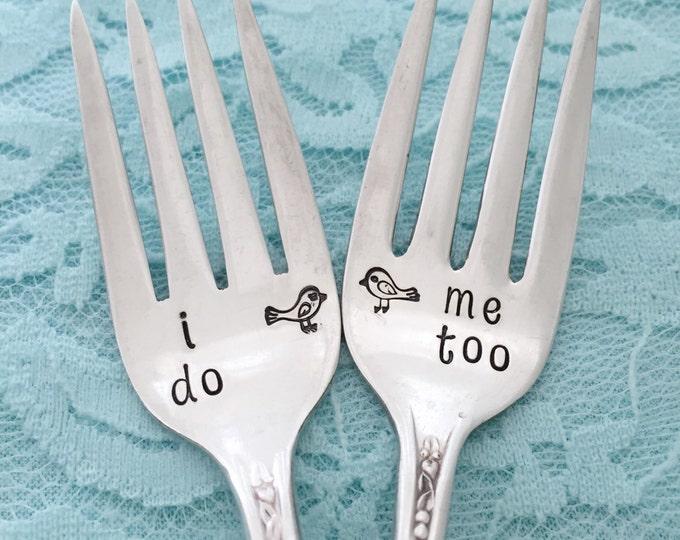 """I do , me too . vintage wedding forks """"priscilla / lady ann"""", hand stamped forks"""