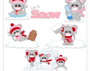Snow Cold Mice 1 Clipart (Digital Zip Download)