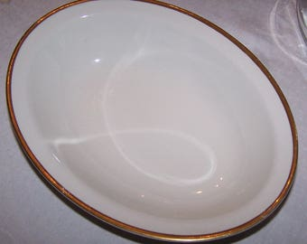 Antique W H GRINDLEY & CO White and Gold Serving Dish or Bowl The MARENGO