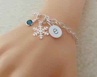Sterling Silver Snowflake Bracelet, Snowflake Bracelet, Personalized Snowflake Bracelet, Bridesmaid Bracelet, Christmas Gift, Gift for Her