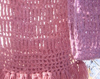 Purple Mulberry Hand dyed Crochet Wool Scarf, Extra Long