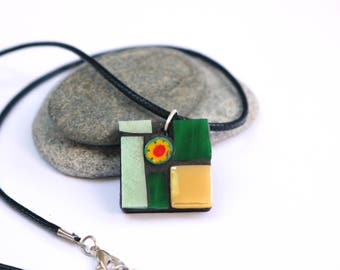 Colourful Pendant, Mosaic Pendant, Green Pendant, Spring Colours, Summer Jewellery, Green Jewellery, Yellow Jewellery, Wearable Art, Gift