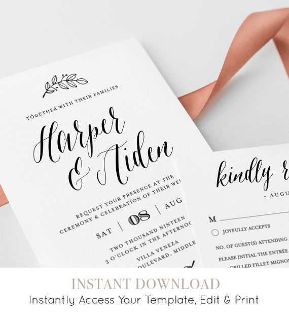 Calligraphy Wedding Invitation Suite, Printable, 100% Editable Template, INSTANT DOWNLOAD, Rustic Kraft Invite, RSVP & Detail, Templett #039