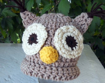 Newborn Owl Beanie Hat - Any Colors - Made to Order