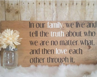 Mason jar sign, family quote sign, wood sign, rustic wood sign, custom family quote sign, mason jar sign, farmhouse family sign, farmhouse