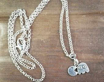 Packman charm silvertone necklace on rollo chain, charm necklace, nickel-free necklace, gamer jewelry.